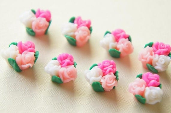 8 pcs Teeny 3 Roses bouquet Cabochon (11m-12mm) Milky Hotpink Lightpink white FM007 (((LAST)))