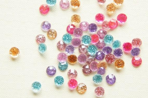 60 pcs Assorted Glitter Faceted Round Gems/Rhinestones (5mm) (((LAST)))