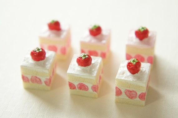4 pcs Strawberry Short Cake Cabochon (13mm) CK011 (((really LAST)))