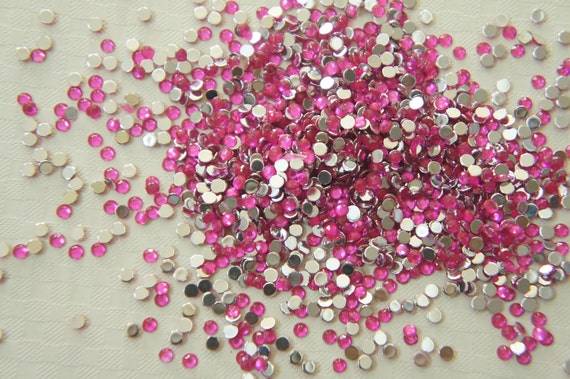 800 pcs Acrylic Faceted Round Rhienstones/Gems (2.5mm)  Pink