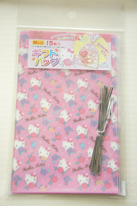 Hello kitty plastic gift bags cm pink by