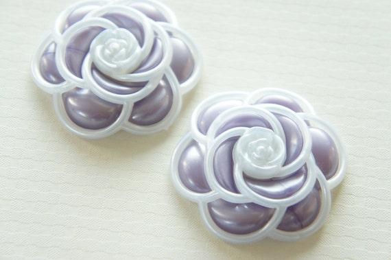 2 pcs Huge Camellia Cabochon Pearlized White Frame/Purple FL246 (((LAST)))