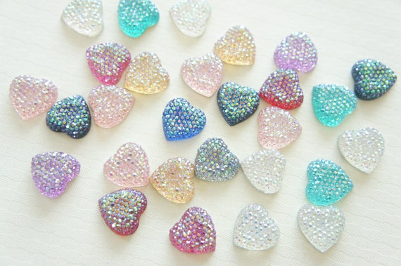 Assorted Color 12 pcs Bling Bling Acrylic Heart Gems/Rhinestones (16mm) AB Colors