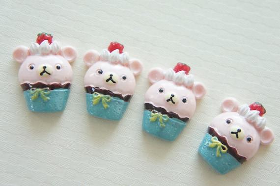 3 pcs Kawaii Bear Cupcake Cabochon (22mm30mm) CD331 (((LAST)))