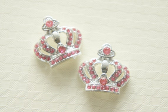1 pc Gorgeous Crown Metal Motif/Cabochon  (19mm20mm) Silver/Light Pink Stones