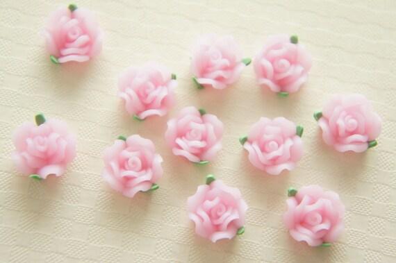 SALE 11 pcs Poly Clay Pale Pink Rose (12mm) FM012 (((LAST)))