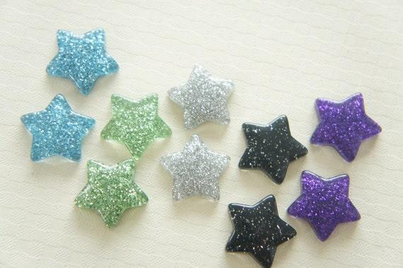 7 pcs Glitter Star Cabochon (18mm) Blue Set IK089 (((LAST))))