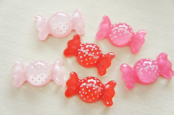 4 pcs Polka Dots clear Candy Candy Cabochon (15mm27mm) CD346 (((LAST)))