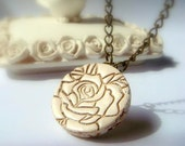 Pendant. Lace Texture in Ivory and Gold,  Polymer clay Handmade Jewelry