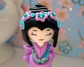 Special offer. Mini Doll,  Sweet Love,  in Lilac , Rose Pink and Turquoise blue , Unique Polymer clay Handmade