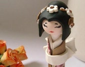 Miniature  Japanese Doll , Be My Princess,  in Gold and White , Polymer clay Handmade Homedecor