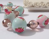 Pastel Necklace. Simple. romantic and shabby chic. Polymer clay Handmade Jewelry