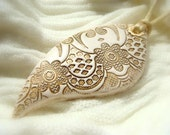 White Lace Texture Pendant   Polymer clay Handmade Jewelry