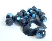 CLEARANCE SALE -  Lots of   Black Beads Decorated with Blue Roses  Polymer Clay Beads