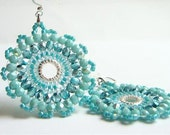 Turquoise and Teal Blue Mandala Earrings,  Beadwork Earrings,Aqua  Blue Crystal Earrings