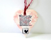 Wall Hanging Decoration, Texture Heart  Ornament , Cottage Chic Wall Decor  in Red  Pink and Ivory, Mother's Day Gift ,Handmade Gift for Her