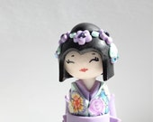 Miniature Japanese Doll Pastel's Shabby Chic Light Purple Lavender and Light Turquoise Unique Polymer clay Handmade Sculpture doll