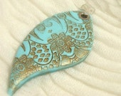 Pendant. Turquoise Lace Pendant , Polymer clay Handmade Jewelry