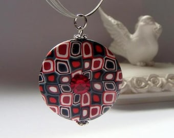 Red Burgundy Black and White Focal Bead Pendant , Retro Style Valentine's Day Christmas Gift
