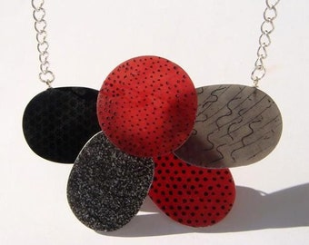 Wearable Art Necklace , Red  Grey Black and Silver Necklace, Oval and Round Beads Necklace,Unique  Handmade Jewelry