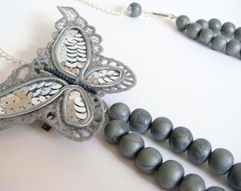 Sparkling Butterfly.  Vintage look Necklace.  Silver Polymer Clay Handmade Beads