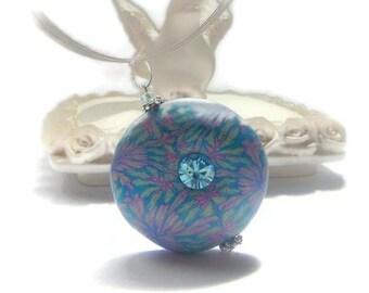 Pendant  Focal Bead pendant  Light Turquoise  Light Pink Aquamarine rhinestone Handmade romantic jewelry mother's day Gift