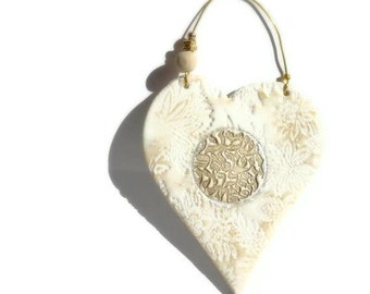 Golden White Heart SHEMA ISRAEL Texture Wall hanging  Handmade  Hostess Gift Homedecor