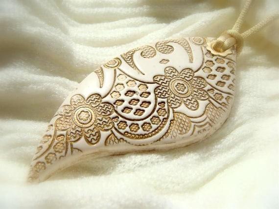 White Lace Textured Pendant