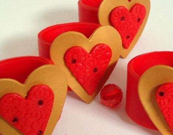 Red and Gold Heart Napkin Rings, Hostess Gift Romantic Serving Table Decor , Swarovski crystals, Napkin Holders Set of six(6)