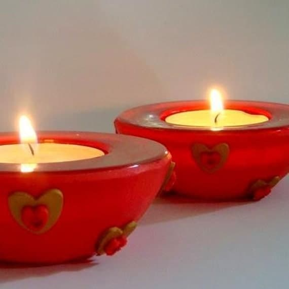 Red  and Gold  Candle Holders, Heart and Swarovski rhinestones,  Handmade home decor
