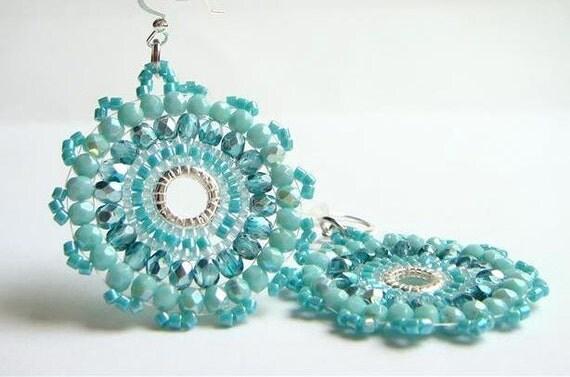 Turquoise and Teal Blue Mandala Earrings,  Beadwork Earrings,Aqua  Blue Crystal Earrings