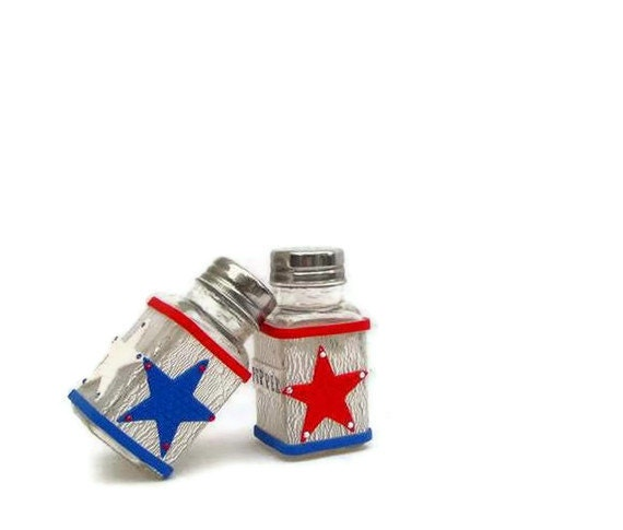 4th of July Star Shakers, Independence Day Star Salt and Pepper ,Patriotic Decoration Shakers , Red White and Blue