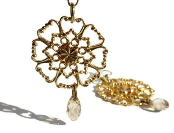 Filigree Flower Earrings,14K gold plated ,with Swarovski Crystal Golden Shadow  Briolettes