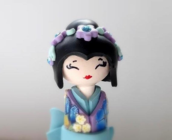 Miniature Doll, Japanese Doll,  Pastel Collector piece, Light Blue Turquoise Lavender and Purple Kimono , Handmade Sculpture Doll