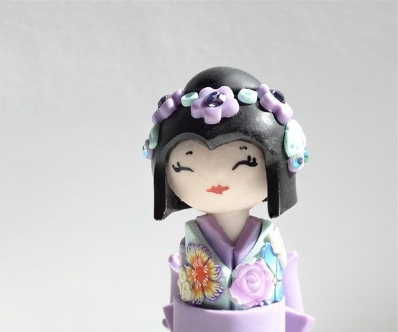 Miniature Japanese Doll Pastel's Shabby Chic  Purple Lavender and Light Turquoise Unique  Handmade Sculpture doll