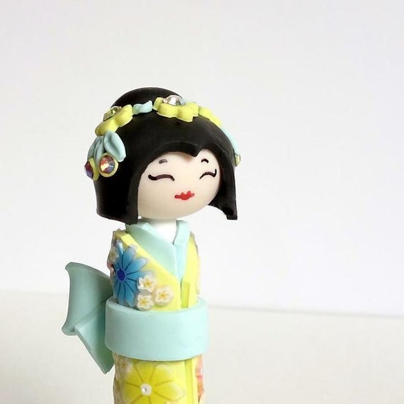 Unique  Handmade Sculpture doll,Japanese Kokeshi Doll,  Miniature Doll, in Lemon Yellow and Mint