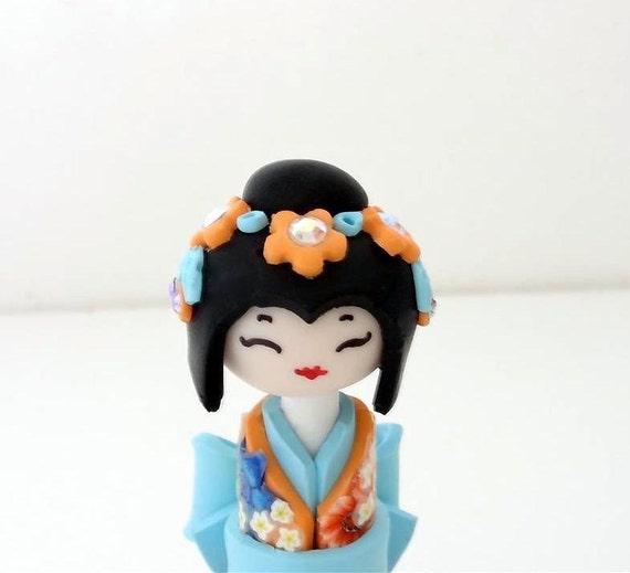 Miniature Japanese Doll , Kokeshi Doll, Pastel's Orange Turquoise ,Shabby Chic, Unique Handmade Sculpture doll