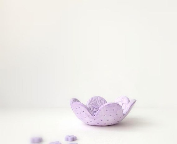 Ring Bowl,  Lace Texture Ring keeper Bowl, Purple , Lilac, Lavender ,Handmade Home Decor