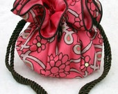 Floral Coral Jewelry Pouch, Travel tote, Bag, Organizer
