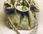 Sage Green Arabesque Jewelry Pouch, travel tote, organizer