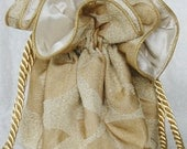 Gold Leaf Jaquard Jewelry Pouch, gifts for her under 20.00