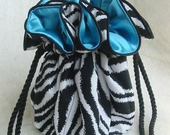 Sassy Zebra Jewelry Travel Bag, Jewelry Organizer Pouch