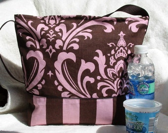 Striped Damask Insulated Lunch Bag in Light Raspberry and Chocolate