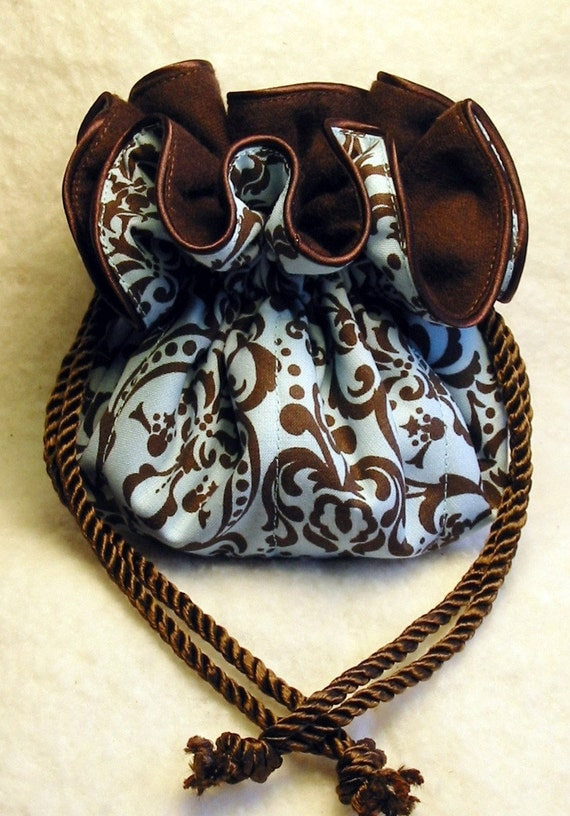 Anti tarnish blue and brown damask jewelry pouch for Anti tarnish jewelry bags