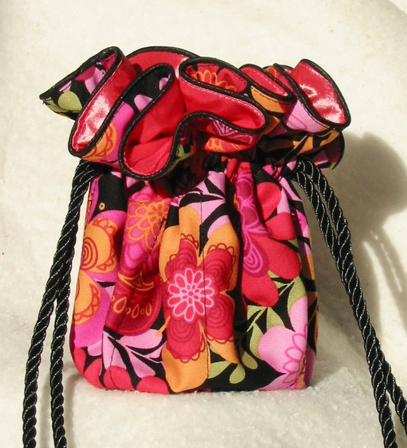 Vibrant Pink Floral Jewelry Pouch Tote Organizer