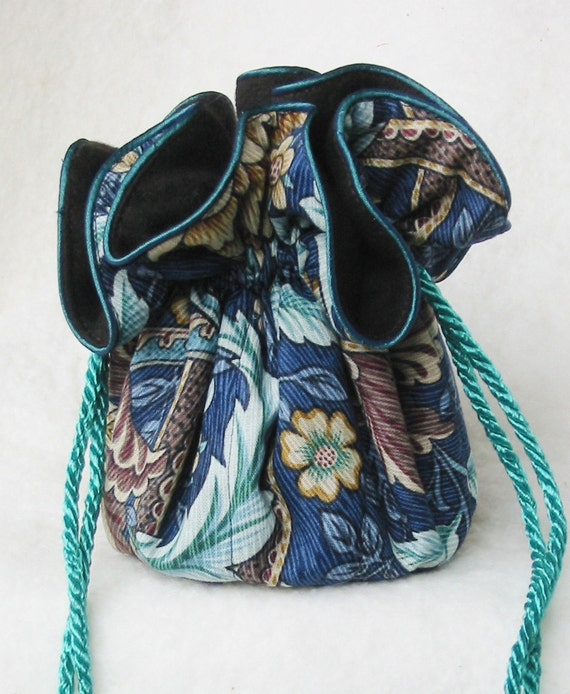 The perfect travel organizer Jewelry Pouch in anti tarnish blue Jacobean flowers