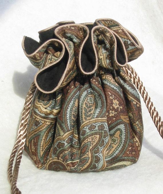 Anti Tarnish Brown Paisley Jewelry Pouch