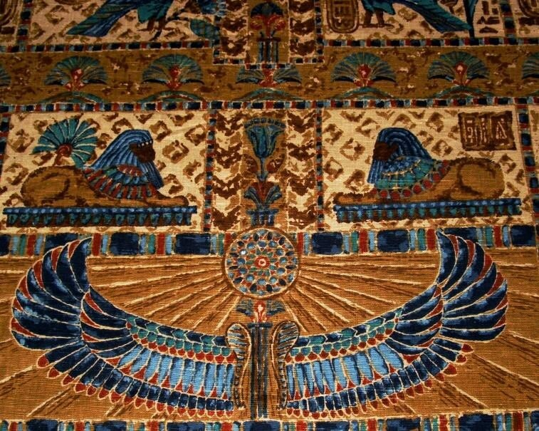 50s Vintage Egyptian Print Fabric