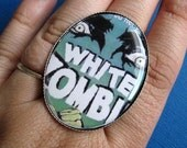 White Zombie Retro Horror Movie Cocktail Ring