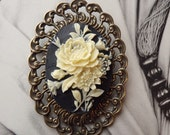 Cameo Brooch Black and White Vintage Rose Style Downton Abby